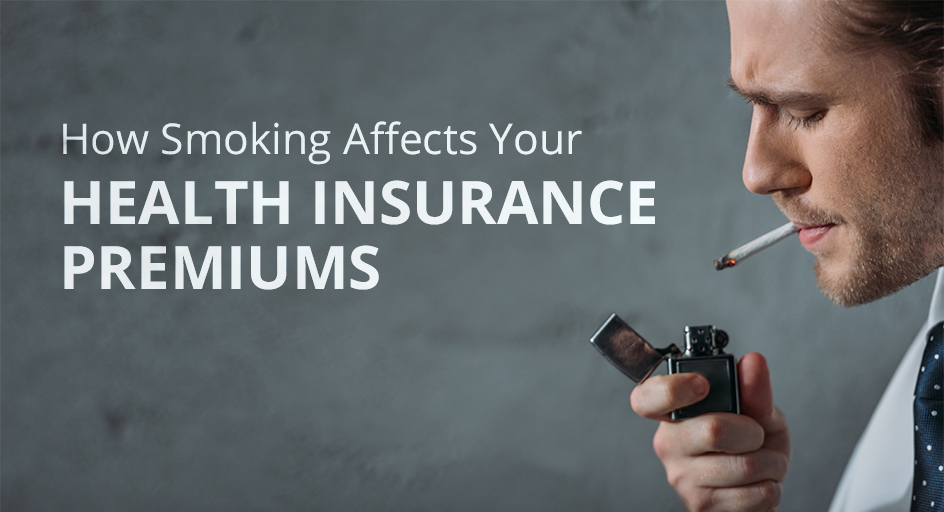 blog image of a man lighting a cigarette; blog title: How Smoking Can Affect Your Health INsurance Premiums